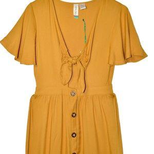 Mustard Yellow Cutout Midi Dress